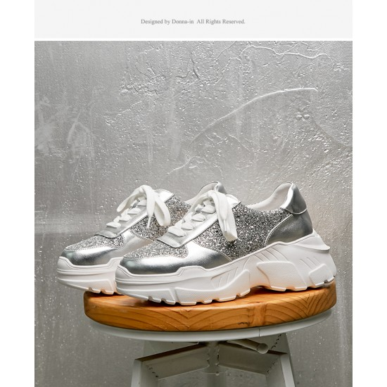 Superstar Sneakers Flag Ltd Upper In Glitter-Coated Fabric Heel Tab And Eyelets In Natural Calf Leat