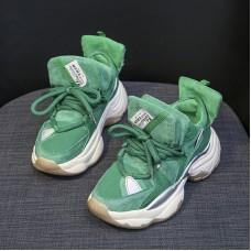 Women Superstar Sneakers In Green Suede ...