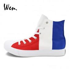 Super Star Scarpe Leather White Red Blue