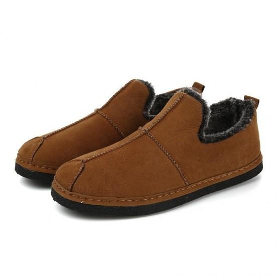 2018 New Winter Men Shoes Snow Boots Loafers Suede Warm Plush Flockankle Plus Velvet To Keep Warm Men Cotton Shoes