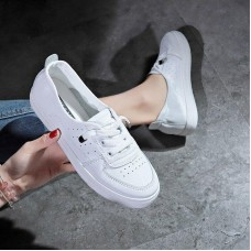 2019 Fashion Women Loafers Flats Woman  female Slip On White Genuine Leather Moccasins Casual Shoes