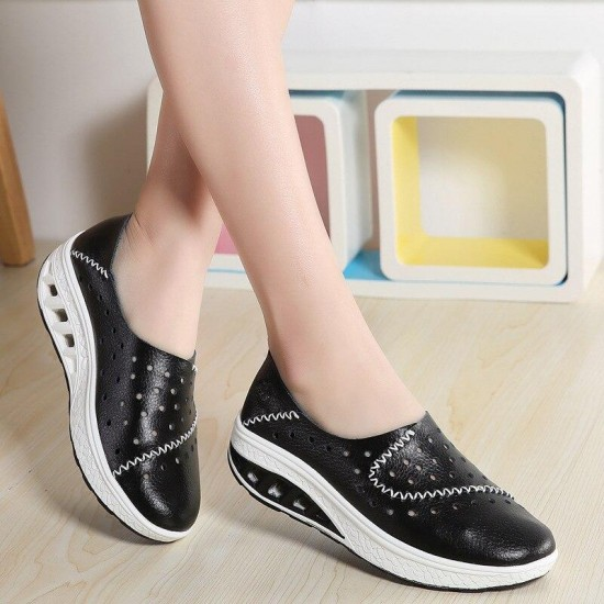 2019 Plus Size Women Platform Sneakers Wedges Wedges Shoes Breathable Hole Lady Shoes Zapatos De Mujer Chaussures Femme