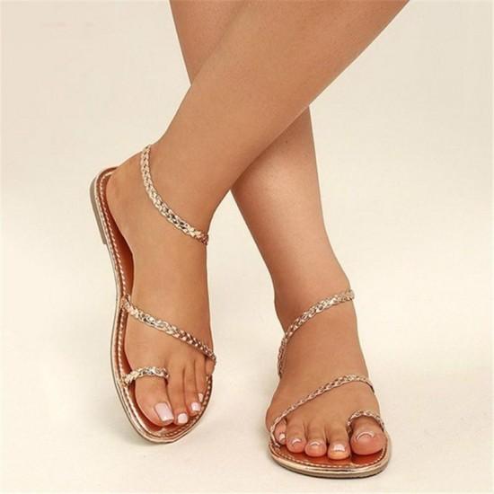 2019 Summer Shoes Woman Plus Size Sandals Flip Flops Weaving Beach Sandals Flat Gladiator Sandals Women Zapatillas Mujer