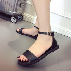2019 Women Sandals Peep Toe Buckle Design Roman Sandals Women Flat Shoes Summer Beach Ladies Shoes Sandals