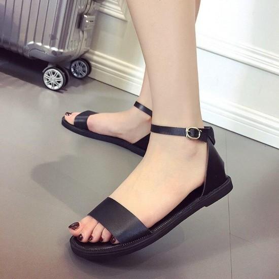 2019 Women Sandals Peep Toe Buckle Design Roman Sandals Women Flat Shoes Summer Beach Ladies Shoes Sandals
