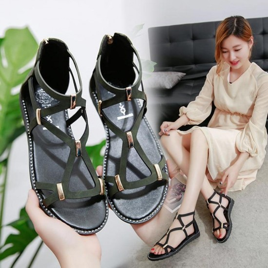 2019 new flat sandals female summer Roman shoes solid color non-slip flat with women sandals