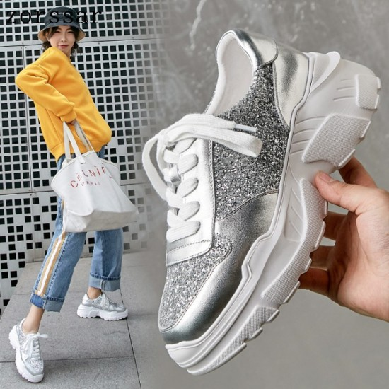 Womens May Sneakers In Poliuretano E Stella In Pele Silver Materasse