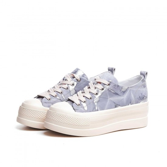 Mid Star Sneakers In Printed Fabric Pony Effect Skin and Leather Star