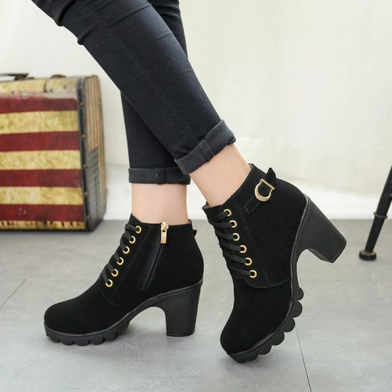 Botas de tobillo de talla grande botas de alto de Mujer Zapatos de heel grueso botas cortas de mujer calzado Casual