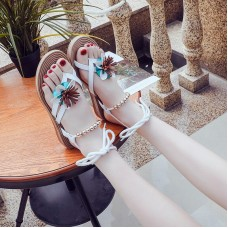 Casual beach shoes 2019 new sandals female flowers beaded sandals women's wild fashion