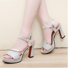 Fashion Ankle Strap Women Casual Sandals Open Toe Summer High Heel Shoes Buckle Ladies Shoes