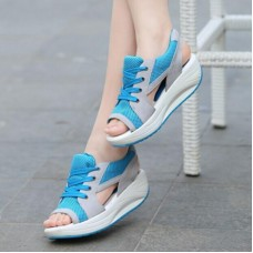 Fashion Summer Women Sandals Casual Mesh Breathable Shoes Woman Ladies Wedges Sandals Lace Platform Sandals