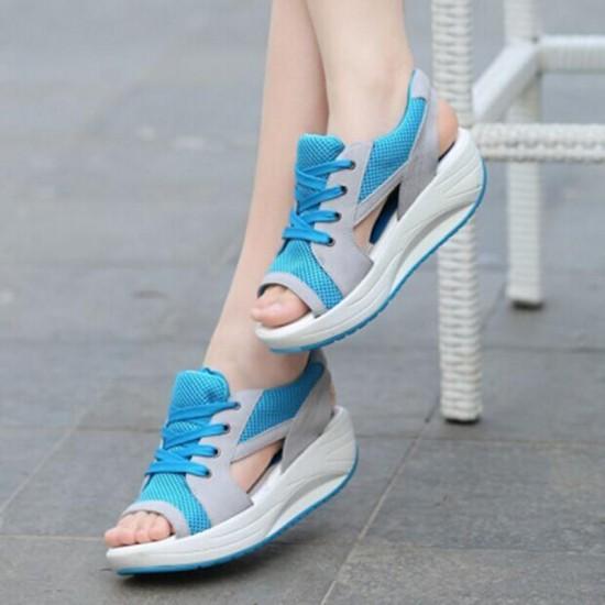 Fashion Summer Women Sandals Casual Mesh Breathable Shoes Woman Ladies Wedges Sandals Lace Platform Sandals