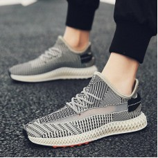 Fashion new flying woven versatile wear men's breathable men's shoes breathable men's vulcanized shoes