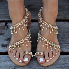 Sandalias Mujer 2019 Fashion Woman Sandals Pearl Flats Women Summer Shoes Casual String Bead Sandals Gladiator Sandals Women