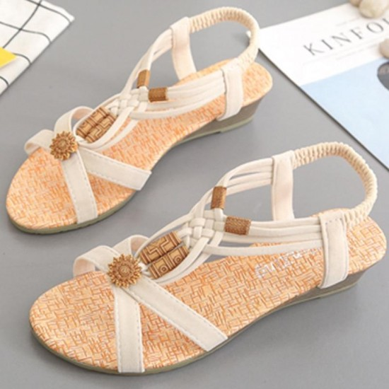 Shoes Woman Sandals Women 2018 Summer String Bead Peep Toe Shoes Roman Wedges Shoes For Women Gladiator Sandalias Mujer 2018