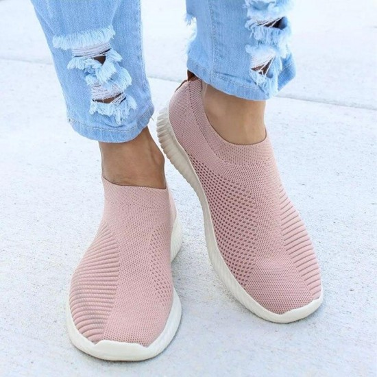 Women Shoes Sneakers Flyknit Sock Sneakers For Women Vulcanized Shoes Woman Sneakers Fashion Mesh Basket Femme Footwear