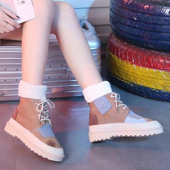 autumn e Invierno explosiones gamuza lona color a juego salvaje alto-top lana boquillas mujeres zapatos