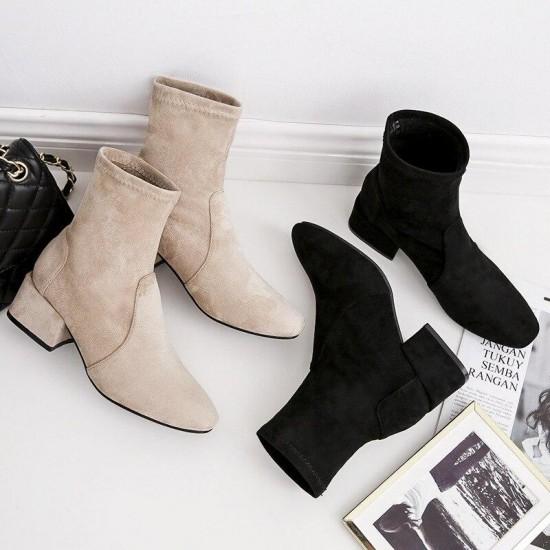 nuevo Autumn Invierno botas de mujer de media pantorrilla tacones planos botas de piel de Suede lidad hasta la rodilla botas