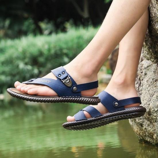 Uomini Pantofole Dei Sandali di Estate Mens All'aperto Sandali Da Spiaggia Scarpe di Acqua Nero Blu Costume Da Bagno Spiaggia Scarpe Da Passeggio Alla Moda Pantofole