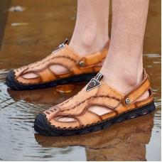 Sandali degli uomini di Grande Formato Scarpe Antiscivolo Uomini di Estate Mens Sandali Mens del Cuoio Genuino Sandali All'aperto Marrone Scarpe Da uomo casual