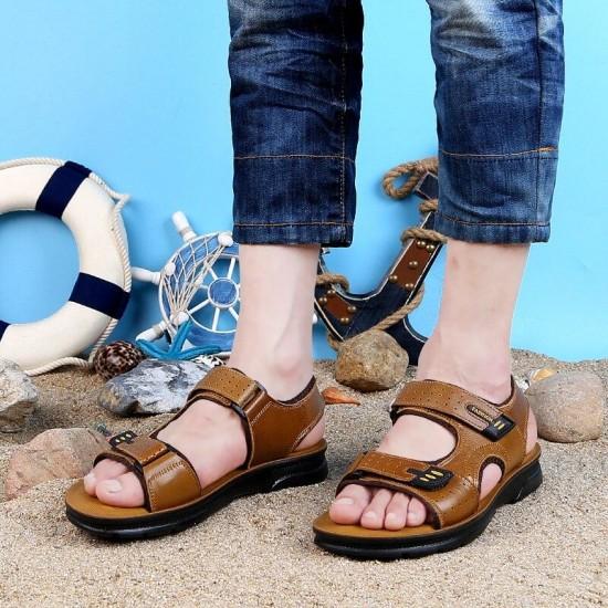 Casual Scarpe Sandali In Pelle di Mucca Uomini di Estate Degli Uomini Sandali Outdoor 2018 di Modo Sandali di Cuoio Genuino Della Spiaggia Scarpe Causale
