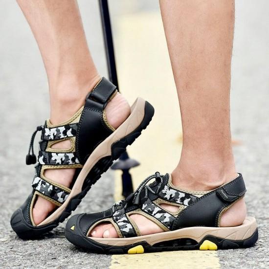 Mens Sandali di Grandi Dimensioni 11 Mens Sandali di Cuoio Genuino Sandali Piatti Per Gli Uomini In Pelle di Mucca Sandali Da Spiaggia Uomo Casual Scarpe