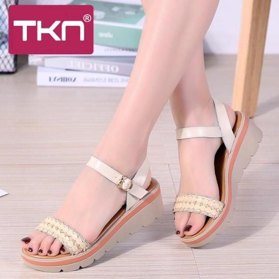 TKN 2019 sandali Delle Donne di estate scarpe di cuoio genuino sandali con zeppa sandali Della Piattaforma delle signore della cinghia della caviglia sandali scarpe basse 8116