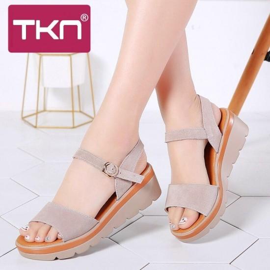 TKN 2019 sandali Delle Donne di estate di cuoio pelle scamosciata di spessore tacco sandali con zeppa sandali Della Piattaforma delle signore della cinghia della caviglia sandali scarpe basse 808