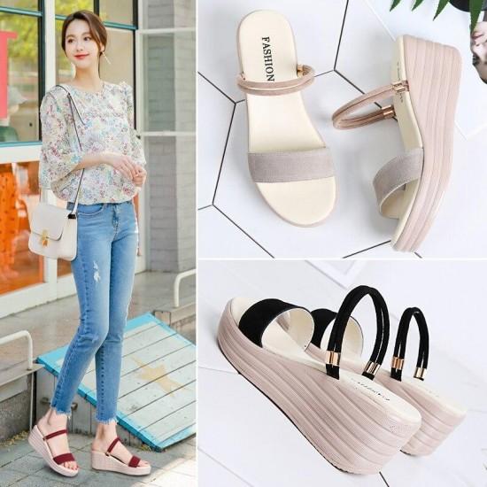TKN donne di modo sandali di cuoio zeppe in camoscio tacco di spessore piatto sandali gladiatore sandali delle signore sandali della piattaforma originale 555