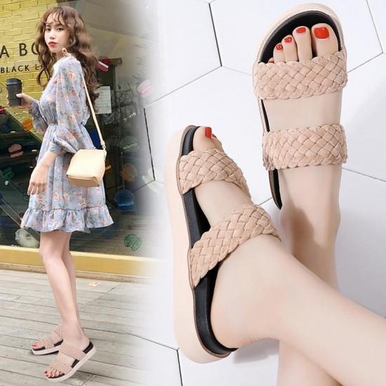 TKN Delle Donne sandali neri Sandali piani delle donne piatto 2019 di modo di estate Sandali dei pistoni delle signore tacco basso piatto scivoli sandali 329