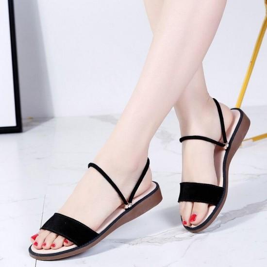 TKN sandali Delle Donne nero piatto 2019 sandali di Estate delle donne piatto di gomma casual Sandali delle signore piatto sandali gladiatore tacco basso 547