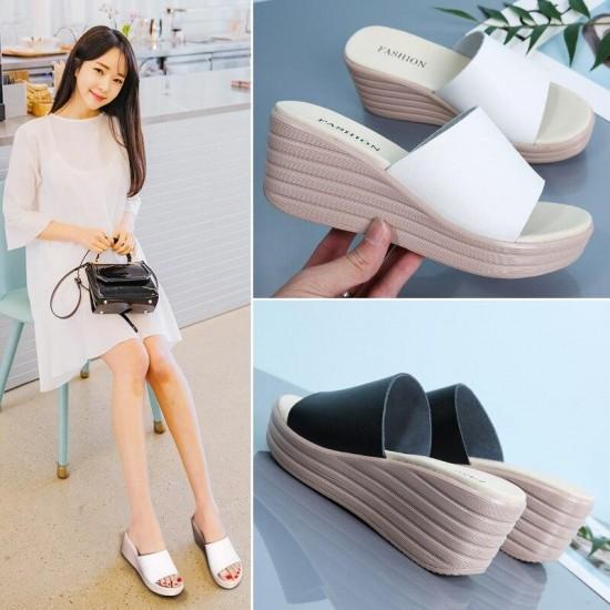 TKN 2019 delle donne di cadute di vibrazione della piattaforma sandali Scarpe delle signore di estate pantofole Peep Toe sandali di flip-flop delle donne flip-flop scarpe 666