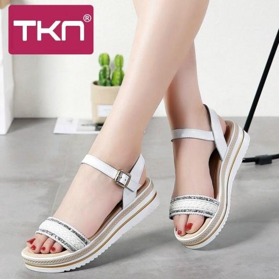TKN 2019 Delle Donne sandali di cuoio di estate sandali con zeppa piatta sandali Della Piattaforma delle signore della cinghia della caviglia spiaggia sandali scarpe basse 896