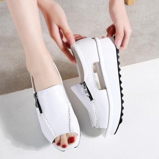 2019 Donne di Estate Sandali Della Piattaforma Delle Signore del Cuoio Genuino Cunei Sandali Della Chiusura Lampo Open Toe Sandali Scarpe per Le Donne 8332