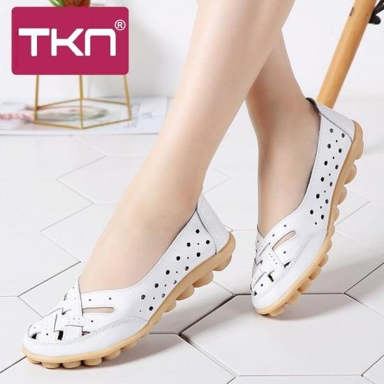 TKN 2019 donne della molla degli appartamenti di balletto del cuoio genuino mocassini scarpe slip on scarpe tacco piatto signore mocassini ballerina scarpe 1165