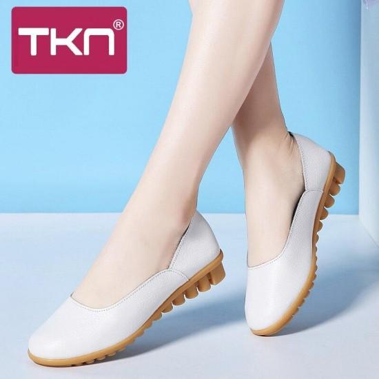 TKN 2019 Donne della Molla Degli Appartamenti di Balletto Scarpe Genunie Slip In Pelle su scarpe Madre Infermiera Bianco Scarpe Mocassini Scarpe Da Donna Piatta Slipony 2867