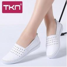 TKN 2019 Donne della Molla Degli Appartamenti di balletto scarpe genuino Slip In Pelle su scarpe ritaglio punta rotonda slipony le donne chaussure femme B17