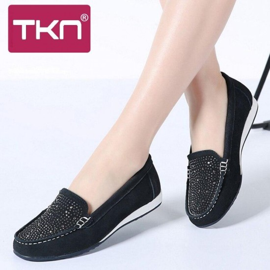 TKN 2019 donne della molla mocassini appartamenti scarpe di cuoio pelle scamosciata slip on ballerine donna mocassini scarpe casual donne scarpe mocassini K22
