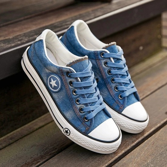 Fashion Women Denim Casual Female Summer Canvas Shoes Lace Up Ladies Basket Femme Stars Tenis Feminino Sneakers