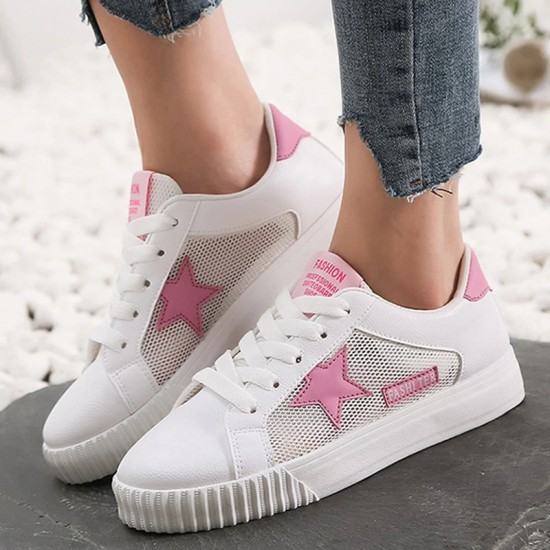 Fashion Women Casual Shoes Comfortable Damping Eva Soles Platform Shoes Women Hollow Out Breathable Star Sneakers