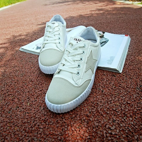 2019 New PU Shoes Summer Stars Flat Shoes Women's Korean Casual Student Shoes Sneaker