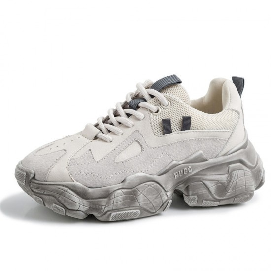 Stylesowner New Genuine Leather Chunky Sneakers Women Plus Size Platform Shoes Woman Distressed Sneakers Ladies Basket Femme
