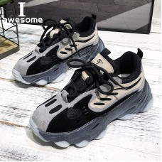 New Genuine Leather Chunky Sneakers Wome...