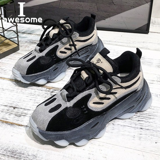 New Genuine Leather Chunky Sneakers Women Platform Shoes Woman Distressed Sneakers Ladies Trainers Basket Femme Zapatillas Mujer
