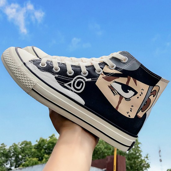 Women Anime Sneakers Lace Up Comfortable High Top Sneakers Women Casual Sewing Canvas Shoes Woman Factory Outlets