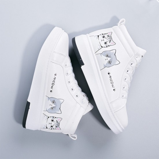 Women Winter Sneakers Female Cute Cat With Plush Flat Woman Lace Up High Top Warm Ladies Vulcanized Shoes Women's White Shoes