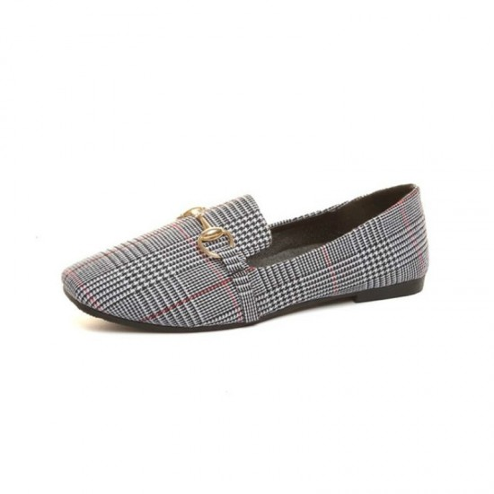 Dropshiping 2019 Spring and Summer New Retro Women Flat Shoes Tartan Design Round Top Metal Button Flat Loafer Zapatillas Mujer